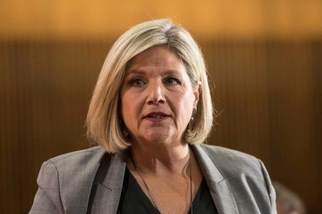 Ontario provincial NDP Leader Andrea Horwath takes questions from journalists during a pre-budget lock-up,...