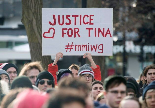 People attend a rally in memory of Tina Fontaine in Montreal, Feb. 24,