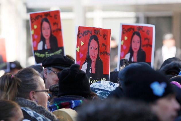 Family and supporters of Thelma Favel, Tina Fontaine's great-aunt and the woman who raised her, march...