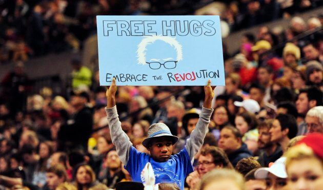Devonte Hart holding up a sign at a Portland, Ore. rally for Democratic presidential candidate Bernie...
