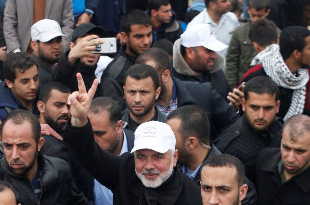 Hamas Chief Ismail Haniyeh gestures during a tent city protest along the Israel border with Gaza, east...