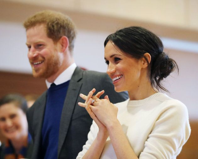 Prince Harry and Meghan Markle during a visit to Belfast on March 23,