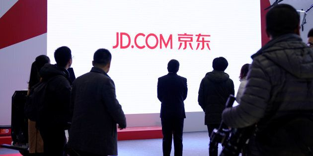 A JD.com sign is seen during the fourth World Internet Conference in Wuzhen, Zhejiang province, China,...