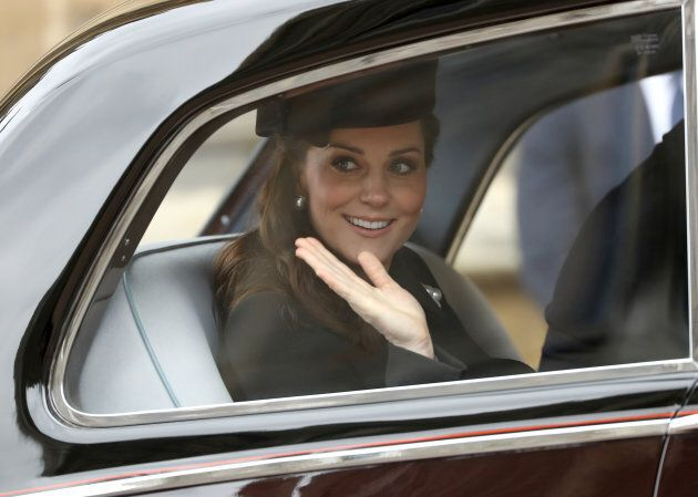 Catherine, Duchess of Cambridge, leaves the annual Easter Sunday service at St George's Chapel at Windsor...