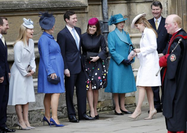 Princess Eugenie and other members of Britain's royal family arrive for the annual Easter Sunday service at St George's Chapel at Windsor Castle in Windsor, Britain, April 1, 2018.