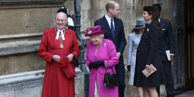 Queen Elizabeth and Prince William and Catherine, Duchess of Cambridge, leave the annual Easter Sunday...