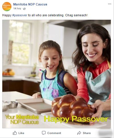 Manitoba NDP's Passover Message Is All