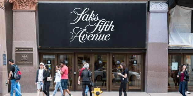Saks Fifth Avenue in downtown Toronto. The American luxury department store is owned by the oldest commercial...