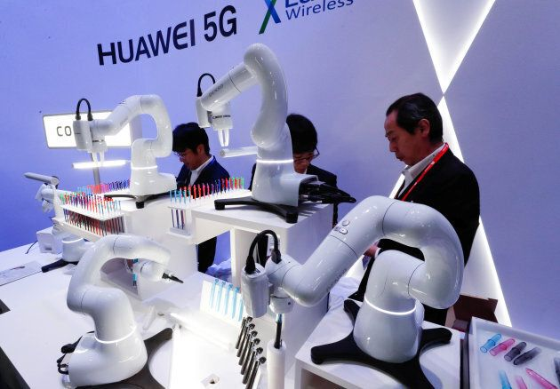 A model of a 5G wireless connected factory is shown at the Mobile World Congress in Barcelona, Feb. 28,