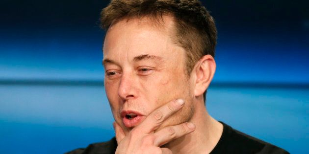 Tesla and SpaceX founder Elon Musk speaks at a press conference following the first launch of a SpaceX Falcon Heavy rocket at the Kennedy Space Center in Cape Canaveral, Fla., Feb. 6, 2018. Tesla shares fell steeply Monday after Musk joked on Twitter that the company was going bankrupt.