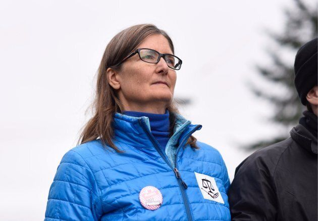 Romilly Cavanaugh, a former engineer for the Trans Mountain pipeline, was arrested at a protest against...