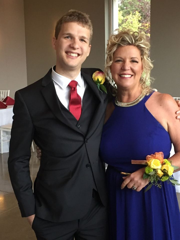 The author with her newly married son, Christopher.