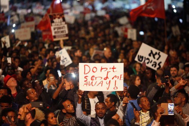 In this February 2018 file photo, asylum seekers protest against deportation in Tel Aviv,