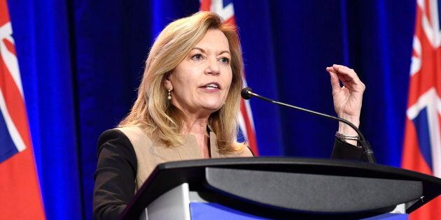 Christine Elliott participates in an Ontario PC leadership debate in Ottawa on Feb. 28,