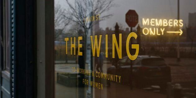 The lobby entrance for The Wing, a private club founded as work space and networking hub exclusively...