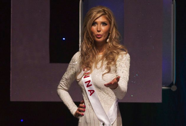 Transgender contestant Jenna Talackova blows a kiss at the Miss Universe Canada competition in Toronto,...