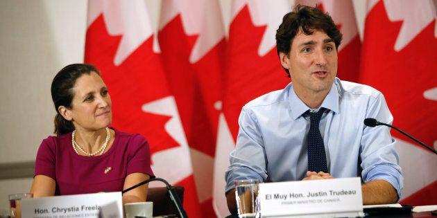 Prime Minister Justin Trudeau and Foreign Affairs Minister Chrystia Freeland speak in Mexico City, Mexico...