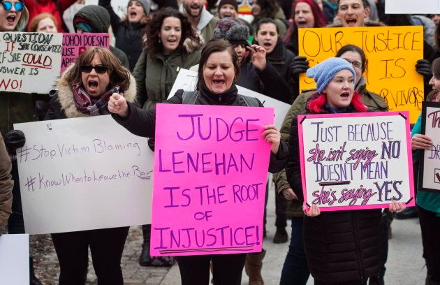 Demonstrators protest Judge Gregory Lenehan's decision to acquit a Halifax taxi driver charged with sexual...