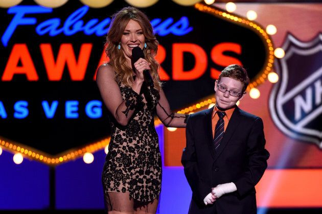 Snowboarder Amy Purdy and Jonathan Pitre at the 2015 NHL Awards in in Las Vegas.