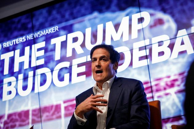 Businessman Mark Cuban participates in a Reuters Newsmaker panel on 'The Trump Budget Debate' in New...