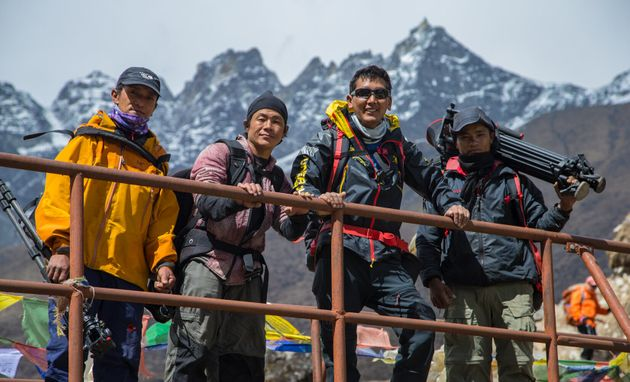 The Sherpa film crew lead by Pasang Kaji