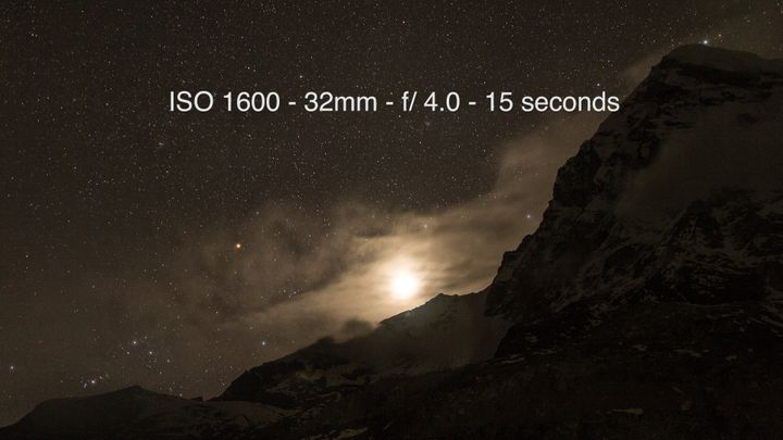 Moon setting on Mount Pumori from the Everest Basecamp