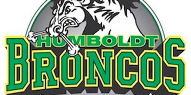 The team logo of the Humboldt Broncos of the Saskatchewan Junior Hockey League is shown in a