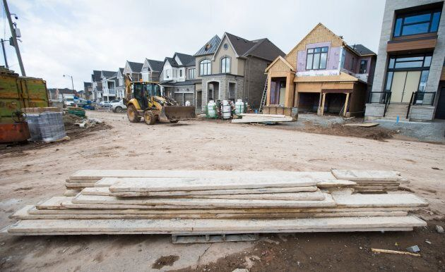 The Mattamy Homes Preserve development in Oakville, Ont., where a number of buyers are under financial pressure following a decline in house prices in the area.
