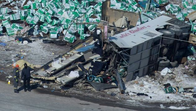 The wreckage of a fatal crash outside of Tisdale, Sask., is seen April, 7,