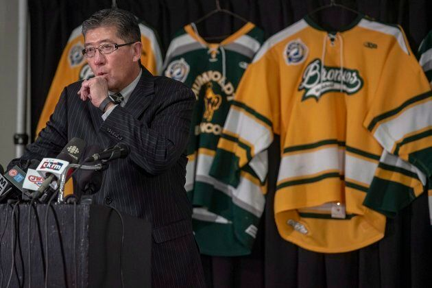 Bill Chow, president of the Saskatchewan Junior Hockey League, speaks during a press conference at the...