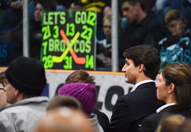 Prime Minister Justin Trudeau attends a vigil at the Elgar Petersen Arena to honour the victims of a...