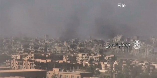 This image from archived video shows Homs,