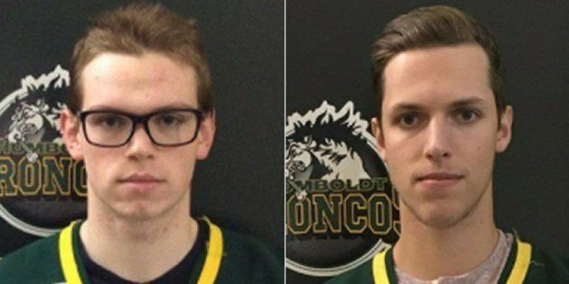 Officials said Monday that Humboldt Broncos goalie Parker Tobin, left, was killed in the crash. Xavier...