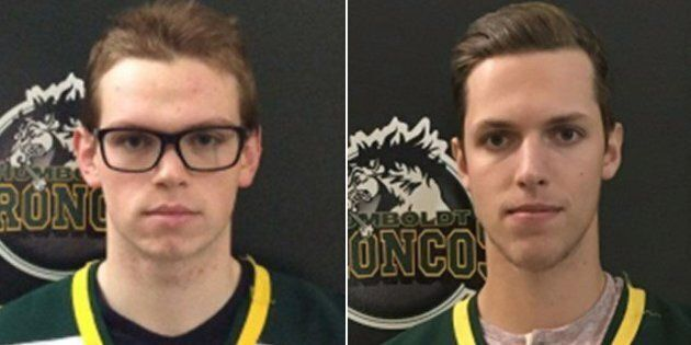 Humboldt Broncos player Parker Tobin (left) was killed after the bus he was travelling on with his team crashed with a semi-trailer. Xavier Labelle, initially thought to have died in the crash, actually survived.
