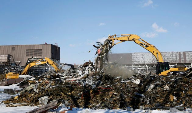 The remains of a former General Motors Co. transmission plant in Windsor, Ontario, on March 9,