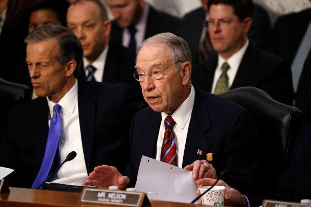 Sen. Chuck Grassley (R-IA) questions Facebook CEO Mark Zuckerberg as Zuckerberg testifies before a joint...