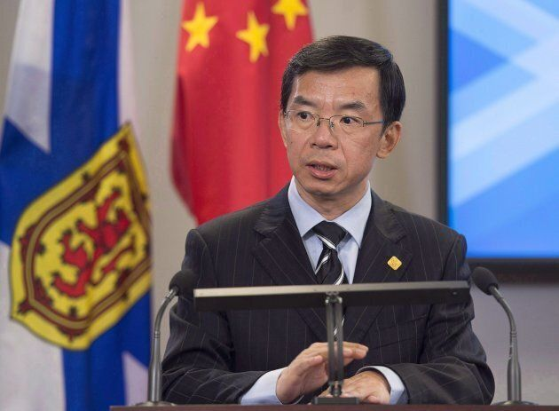 China's ambassador to Canada, Lu Shaye, addresses the media during a visit to Halifax on November 7,...