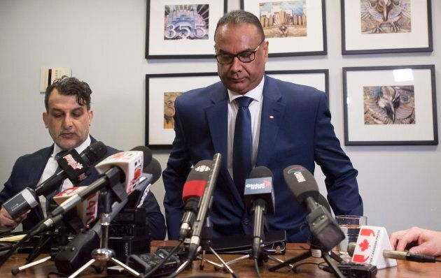 Jaspal Atwal, right, arrives with his lawyer Rishi T. Gill for a news conference in downtown Vancouver, on March, 8, 2018.