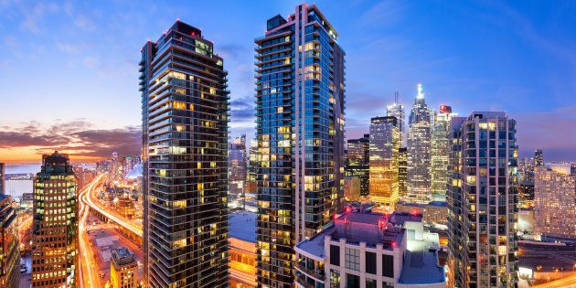 Condo towers near Toronto's downtown core. The income needed to qualify for a mortgage on an average-priced condo in Toronto has now reached $100,000, according to Urbanation.