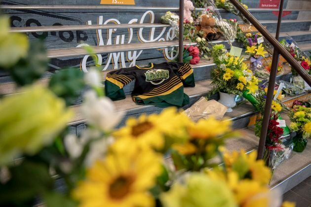 A memorial at the stairs that lead to Elgar Petersen Arena is shown in Humboldt, Sask., on April 7,