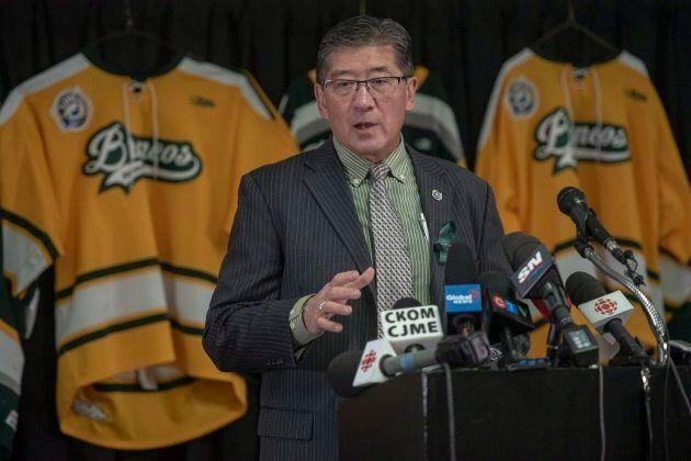 Bill Chow, president of the Saskatchewan Junior Hockey League, speaks during a media event at Elgar Petersen...