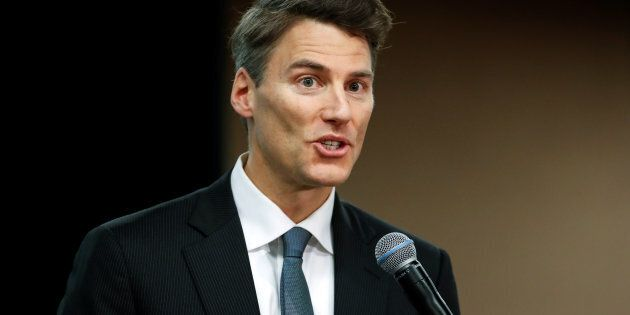 Vancouver Mayor Gregor Robertson speaks during the North American Climate Summit in Chicago, Illinois,...