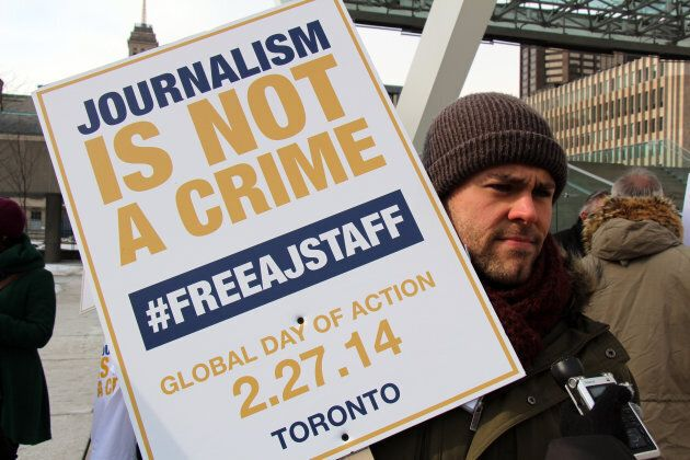 Tom Henheffer, then executive director of the Canadian Journalist for Free Expression during a demonstration on Feb. 27, 2014 in Toronto calling for the release of Al Jazeera journalists detained in Egypt.