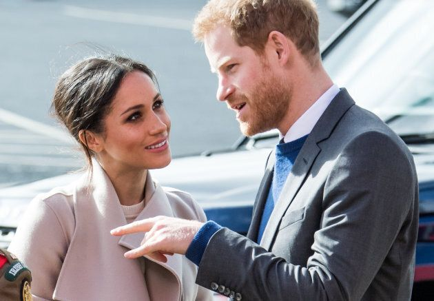 Prince Harry and Meghan Markle at the Eikon Exhibition Centre on March 23, 2018 in Lisburn, Northern