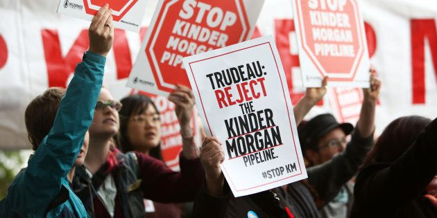 Demonstrators protest Kinder Morgan's Trans-Mountain pipeline expansion in Vancouver, B.C., Nov. 7, 2016....