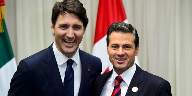 Prime Minister Justin Trudeau meets with Mexican President Enrique Pena Nieto in Lima, Peru on April...