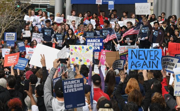Students speak during the March for Our Lives rally at Las Vegas City Hall on March 24, 2018.