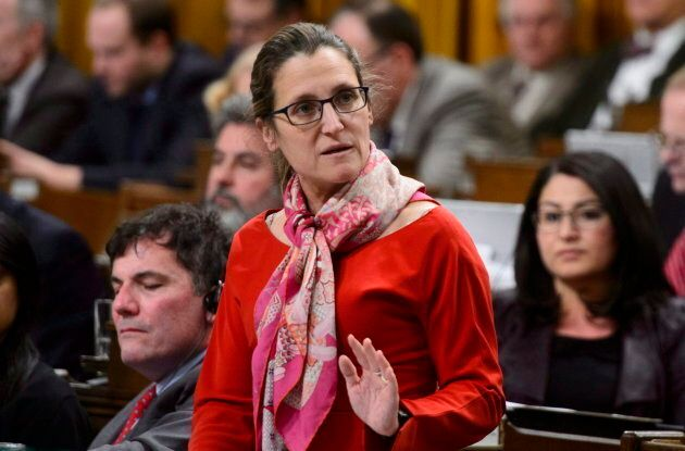 Minister of Foreign Affairs Chrystia Freeland stands during question period in the House of