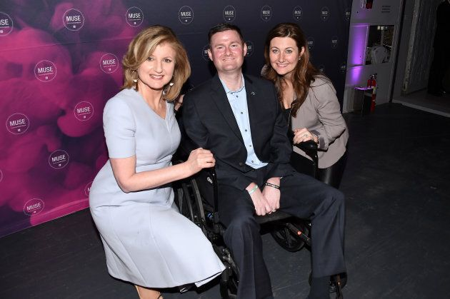 Author Arianna Huffington, co-founder of ALS ice bucket challenge Pat Quinn and Anne Quinn attend the...