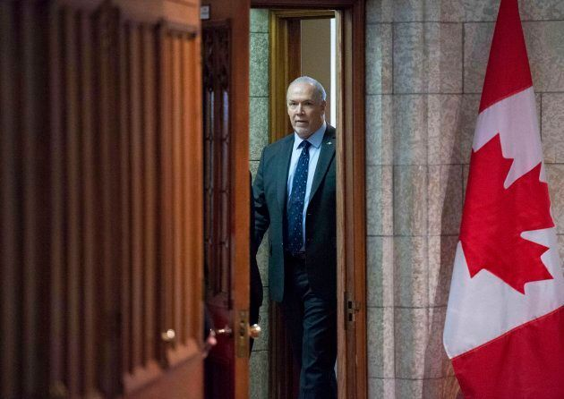 B.C. Premier John Horgan leaves after a meeting with Prime Minister Justin Trudeau and Alberta Premier...
